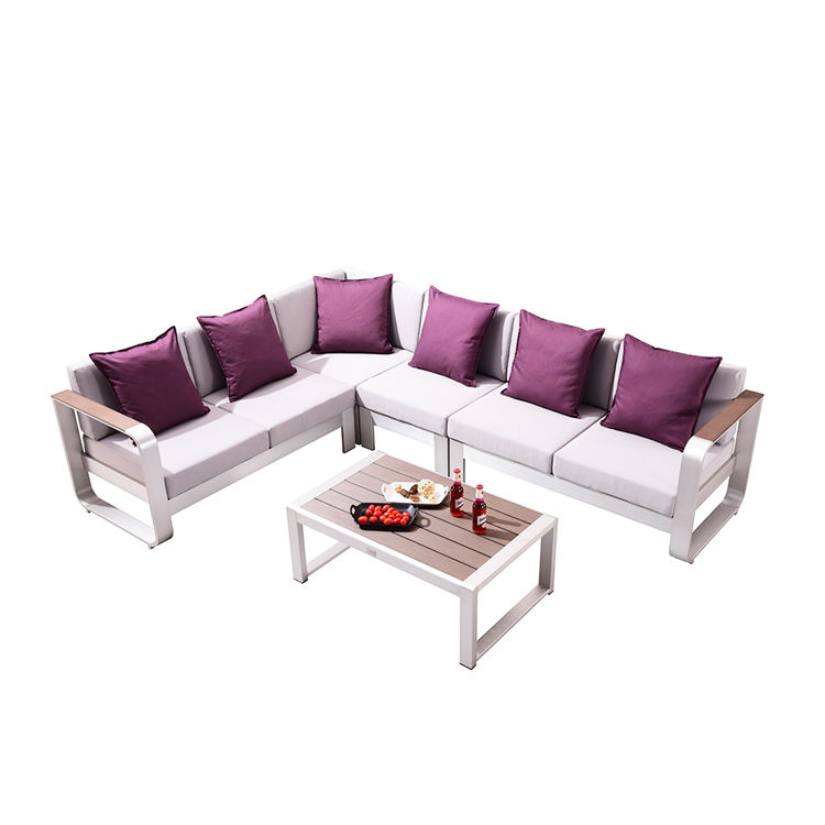 Hotel Villa Furniture Aluminum Modular Corner Patio Garden Sofa Set With Coffee Table