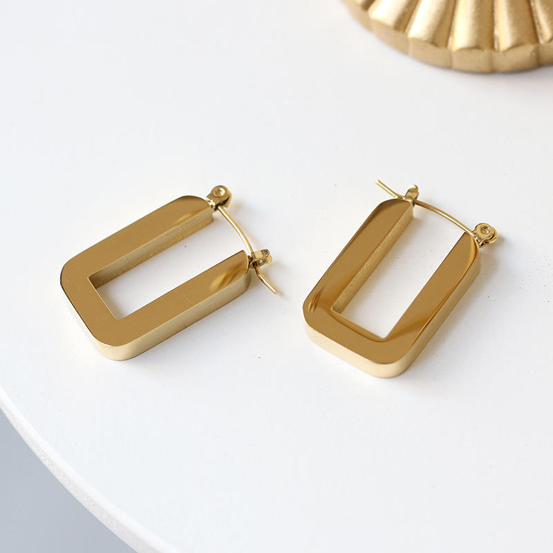 French Modern Retro Thick Heavy Block U-Shape Earring 18K Gold Plated Stainless Steel Geometric U Shape Hoop Earrings