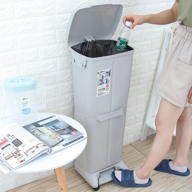 Japanese Style 2 Tiers Household Dry Wet Waste Double Trash Bins Plastic