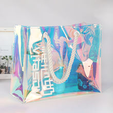 custom logo fashion cotton rope holograms laser pvc jelly bag