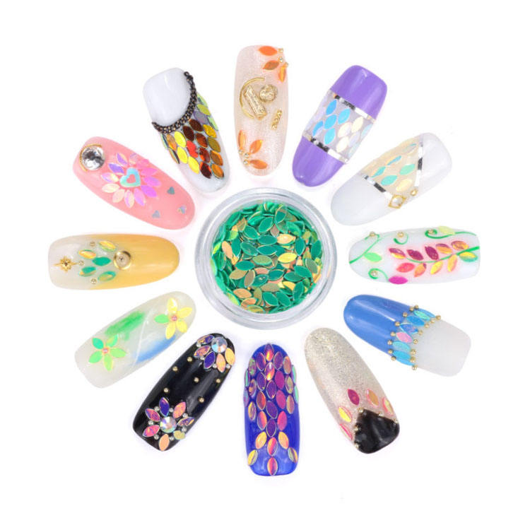 Nail art sequins decoration 12 colors mixed 3d DIY nail sticker shining horse eye shape glitter
