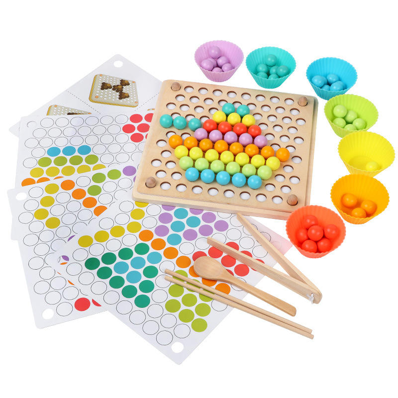 Kids Baby Practice Chopsticks Colourful Beads Puzzle Montessori Wooden Educational Toys