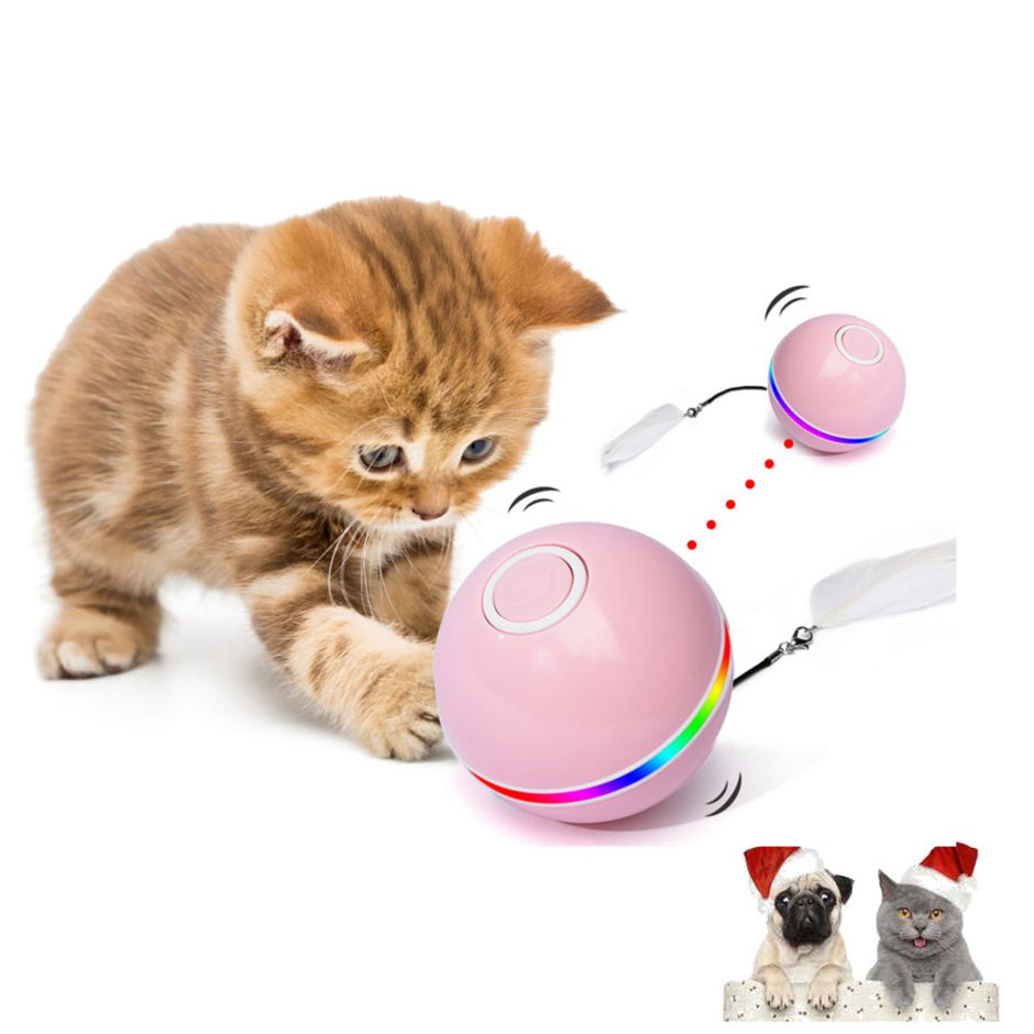 Amazon Hot Sell Sound Cat Toy Flashing Ball Fly Dogs Pet Rope Sensory Balls Chew Dog Paintball Bag Recharge Bean Spinning Felt