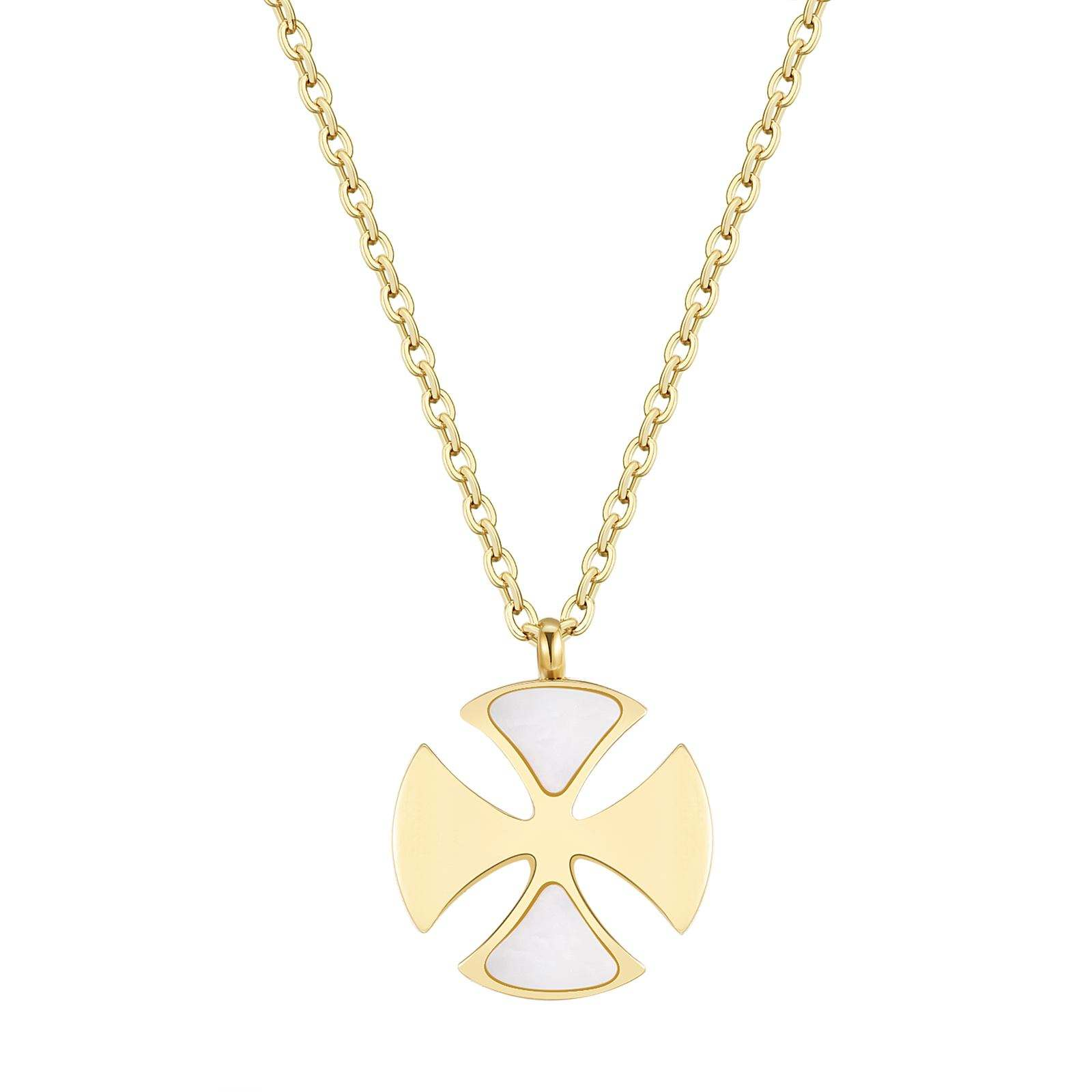 Hot selling simple clover Pendant Necklace Stainless Steel gold plated necklace jewelry