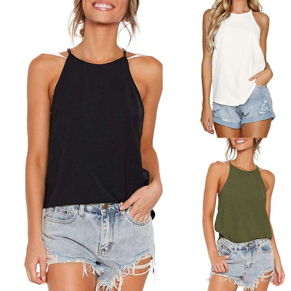 Best Selling Women Solid Color Irregular Tank Top Sexy Sling White Vest Casual Top Camisole Cami