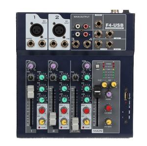 Mixer Suara Audio Antarmuka 4 Saluran/Mixer Daya Audio Suara Profesional/Mixer Suara Musik Audio Digital USB