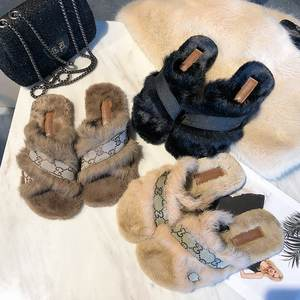 Wholesale fur slides for women slippers flat sandals fashion faux fur slippers women