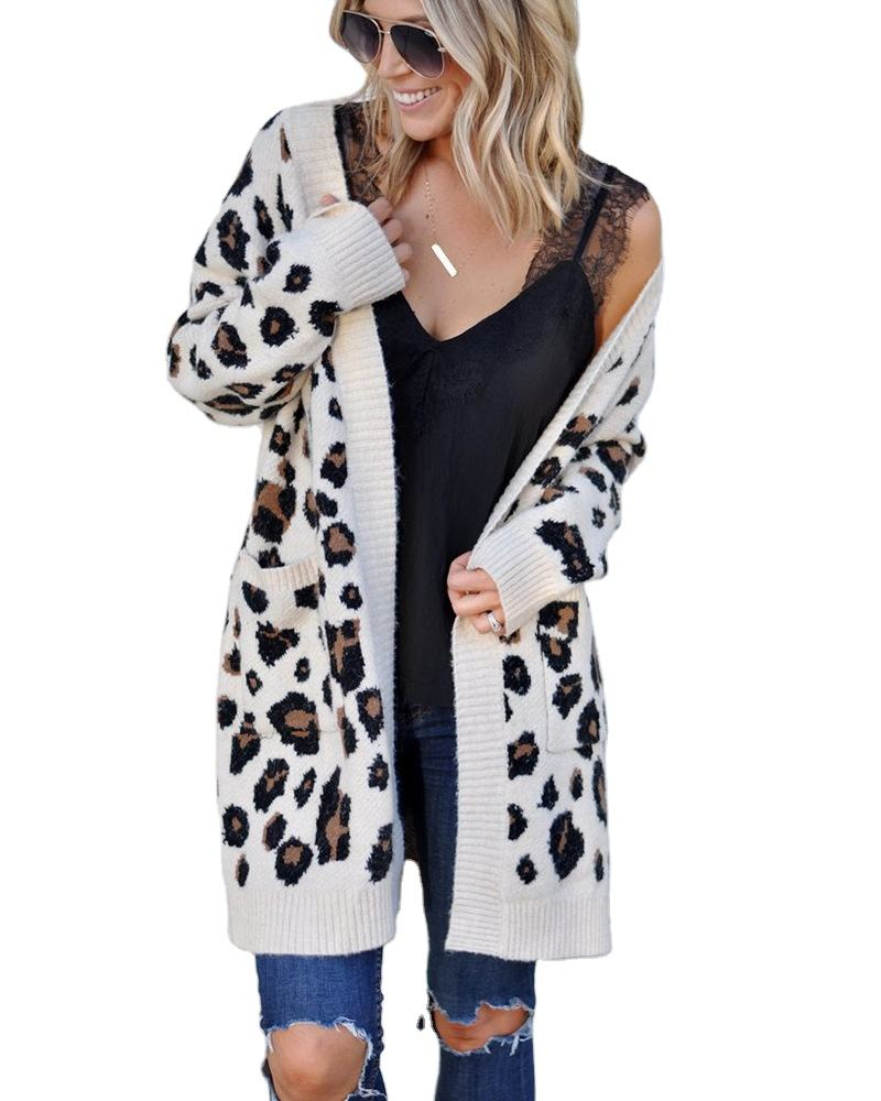 2020 fashion long sleeves cardigan sweater knitted ladies sweater leopard cardigan sweater for women