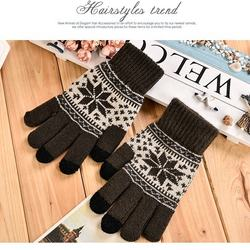 Amazon Hot Sale Unisex Winter Warm Knit Jacquard Snowflake Maple Leaf Pattern Touch Screen Gloves Five Fingers