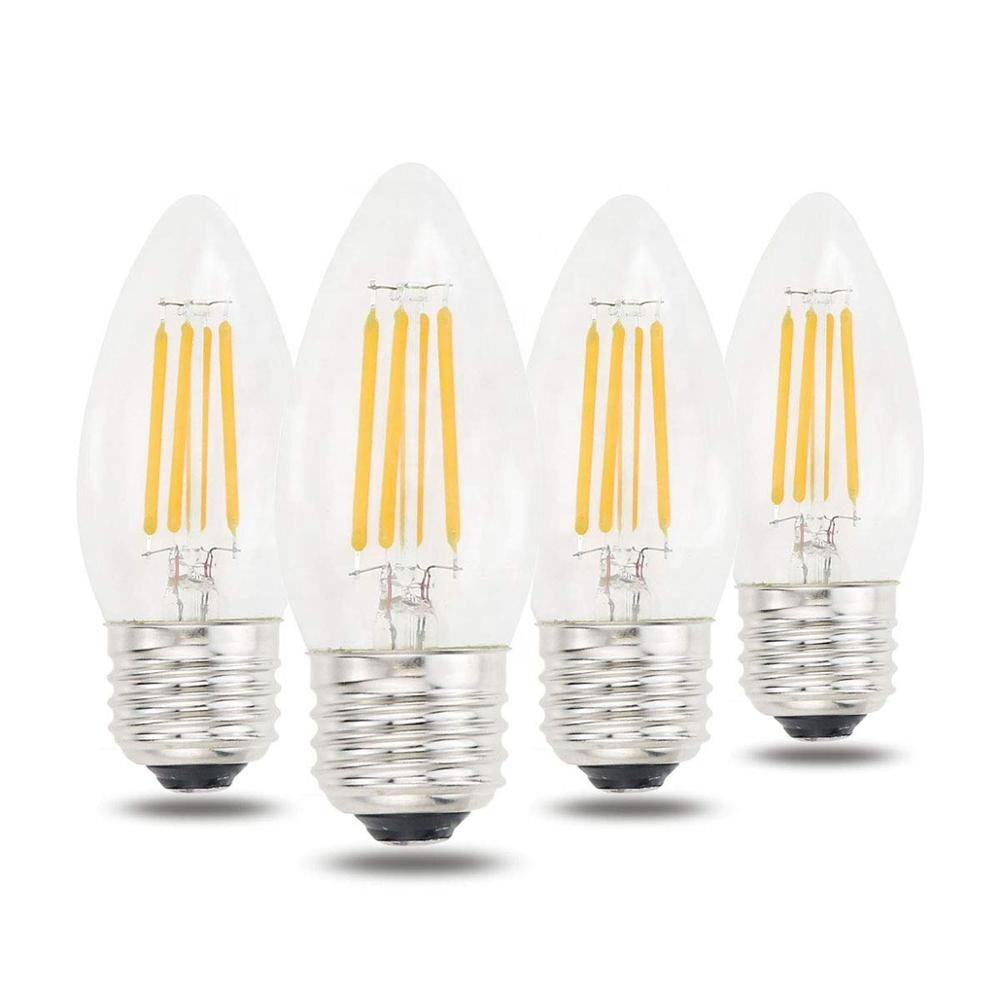 Energy Saver 4 Paket LED Lilin C35 4W 400lm Filament Bulb Dimmable