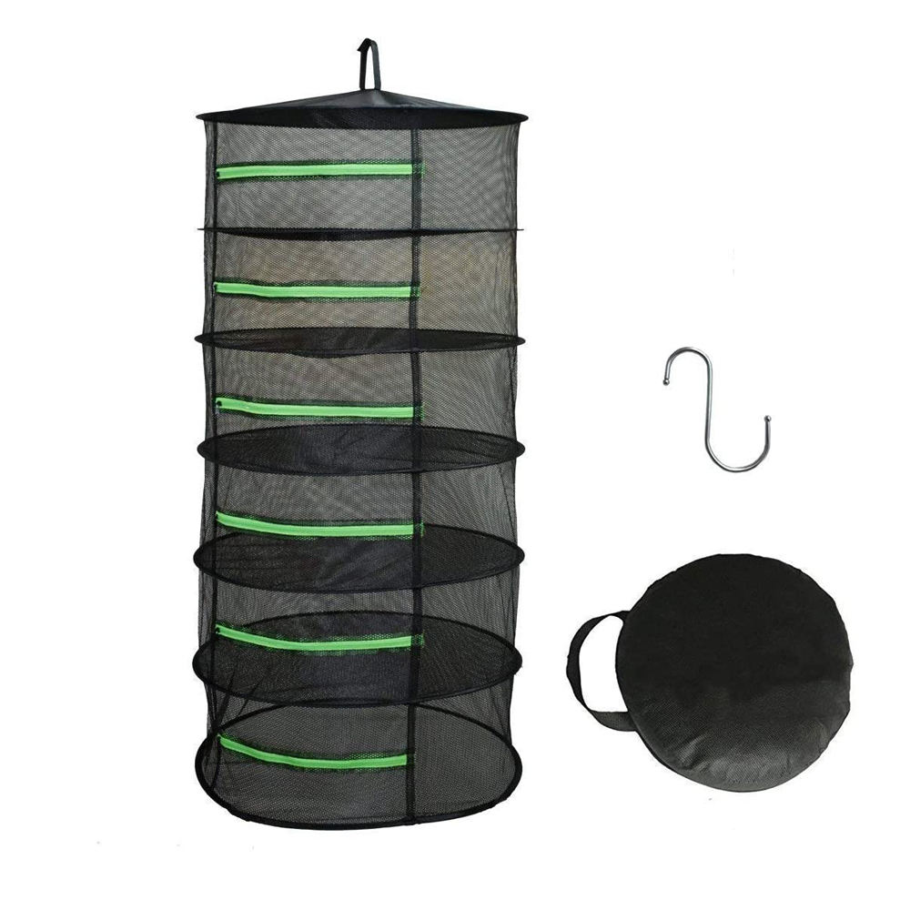 Hot Sale 6 Layer 2ft Black W/Green Zippers Mesh Herb Dryer Hydroponics Greenhouse Herb Drying Rack