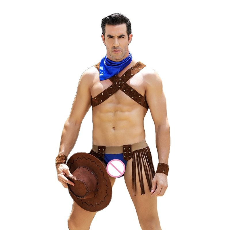 Men Cowboy Costume Sexy Lingerie Cosplay Role Play Uniform Outfit 6601