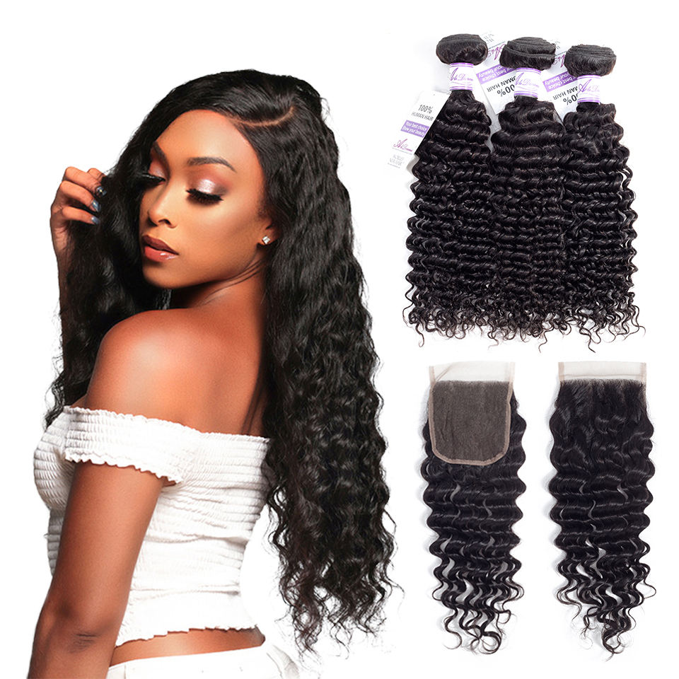 Young Queen brazilian human deep wave hair wet and wavy weave mink hair unprocessed virgin human bundles with 4*4 loose closure