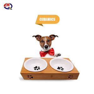 Ceramic Bowl Pet Dog Bamboo Wooden Elevated Stand Feeder Cat Bowls Dining Table with Double stainless steel cat bowls