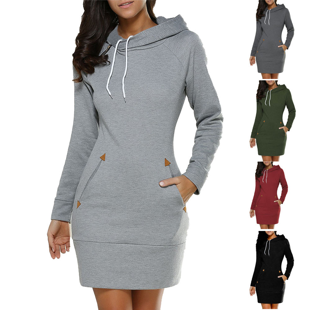 Aliexpress Ebay Hot Sale Women Casual DressとHoodie Long Sleeve Hoodie DressためWomen