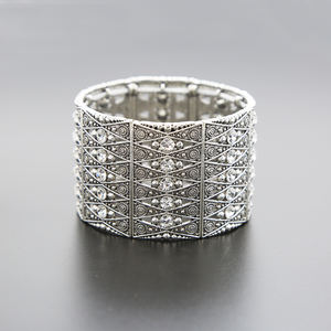 Vintage Silver Bangle Zinc Alloy Rectangle Sliders Bracelet