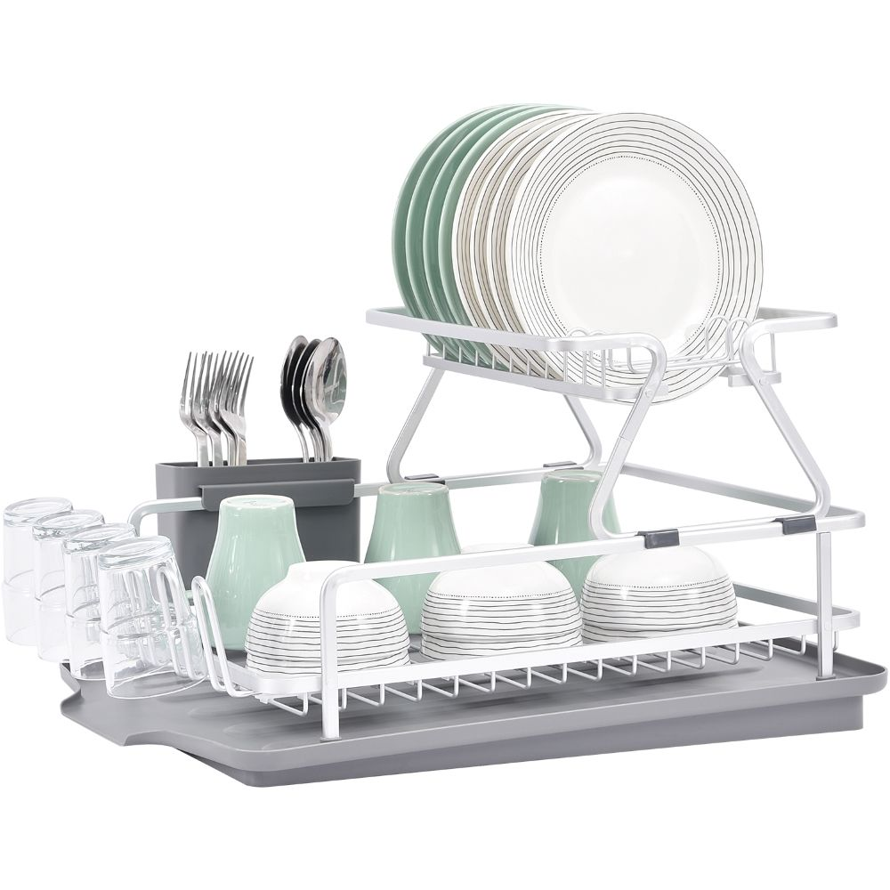 Hot sell 2 tier dryer storage aluminum dish drainer drying rack plate and bowl drain rack