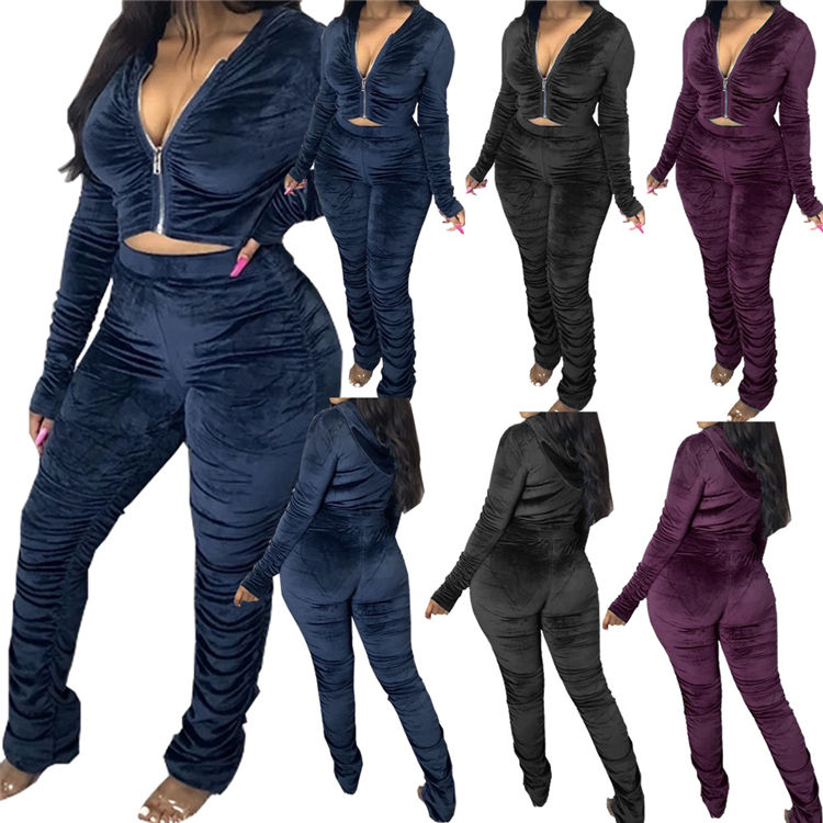 M11186 Casual outdoor sportswear plus size velvet two piece jogger set women thick clothing winter fall 2020
