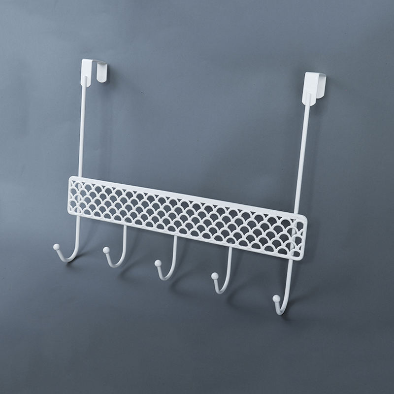Nordic Over The Door 5 Hook Rack Metal Powder Plated White Decorative Organizer Hooks for Clothes, Coat, Hat, Belt, Towels