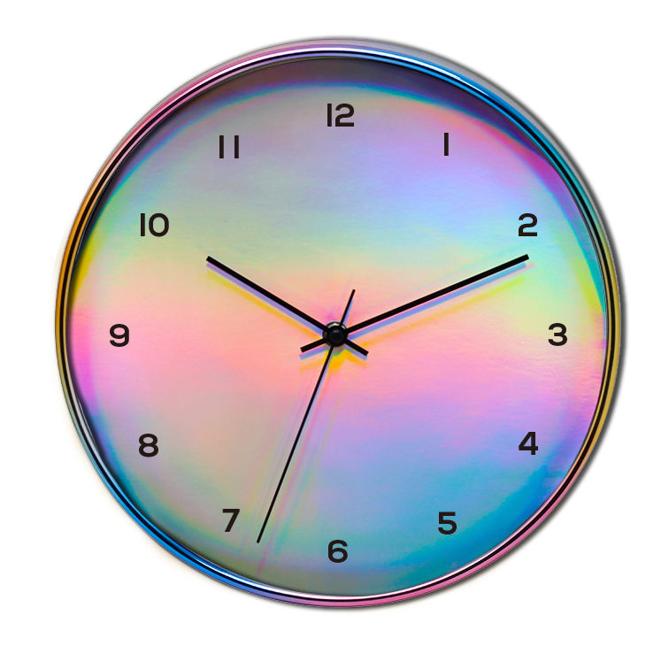 12 inch noverty design rainbow color case Arabic number dial plastic wall clocks for home decoration