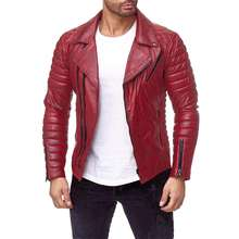Fashion classic biker red vintage men motorcycle genuine leather jacket