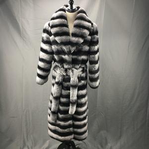 rex manteau de fourrure | Manteau de fourrure chinchilla pour femme, nouveau style Rex en lapin, manteau de fourrure chinchilla, 2020
