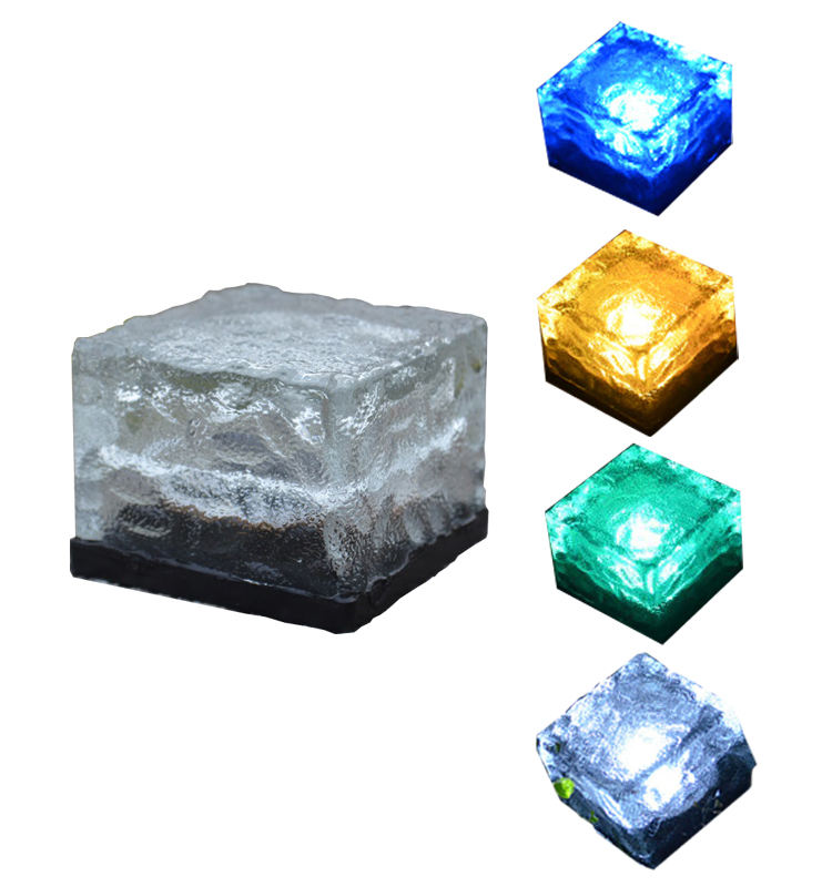 High Brightness IP44 Frosted Glass 1 LED Solar Brick Paver Light