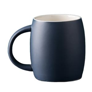 Chinese cheap matt deep blue 440ml round unique glazed ceramic coffee mug with big handle for custom logo