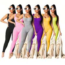 0420M060 Wholesale Fashion Women Summer Jumpsuit Sexy Sleeveless Solid Casual Tank Body Suits Women Sexy Bodysuits Jumpsuit