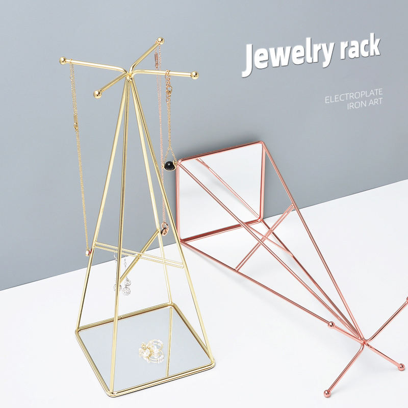 Sieraden Stand Commerciële Opknoping Armband Rose Gold Metal Ketting Organizer Earring Ring Houder Rack Sieraden Display Stand