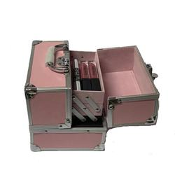Small Aluminum Make-up Case Cosmetic Storage Box Pink Beauty Make Up Nail Art Organizer