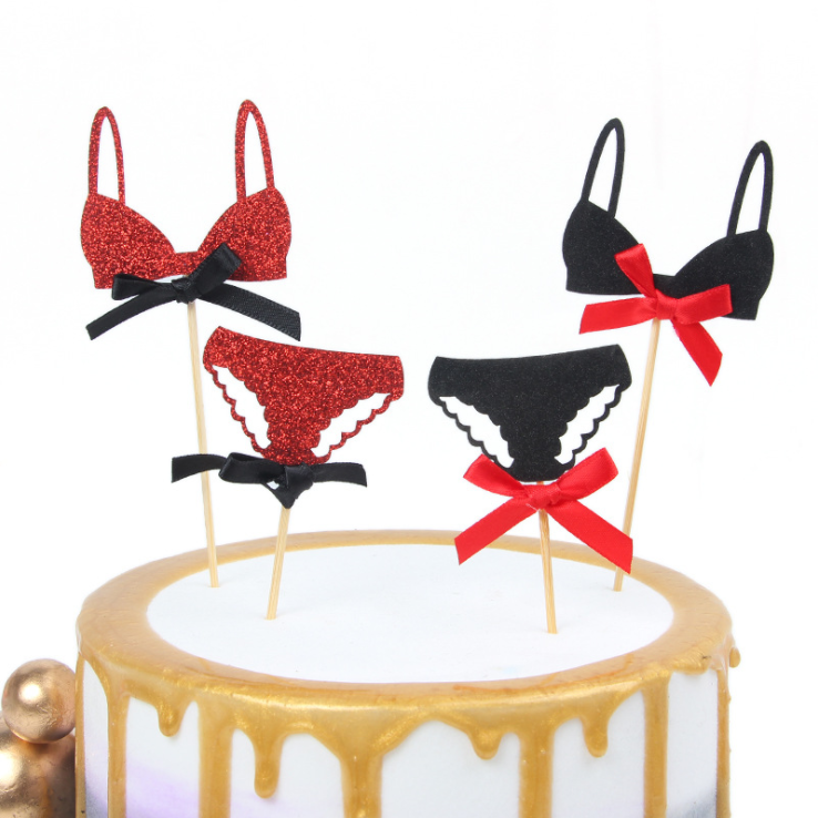 Distinctive Bikini Happy Birthday Cake Topper Red Birthday Cupcake Topper Supplies for Woman Birthday Party Cake Decorations