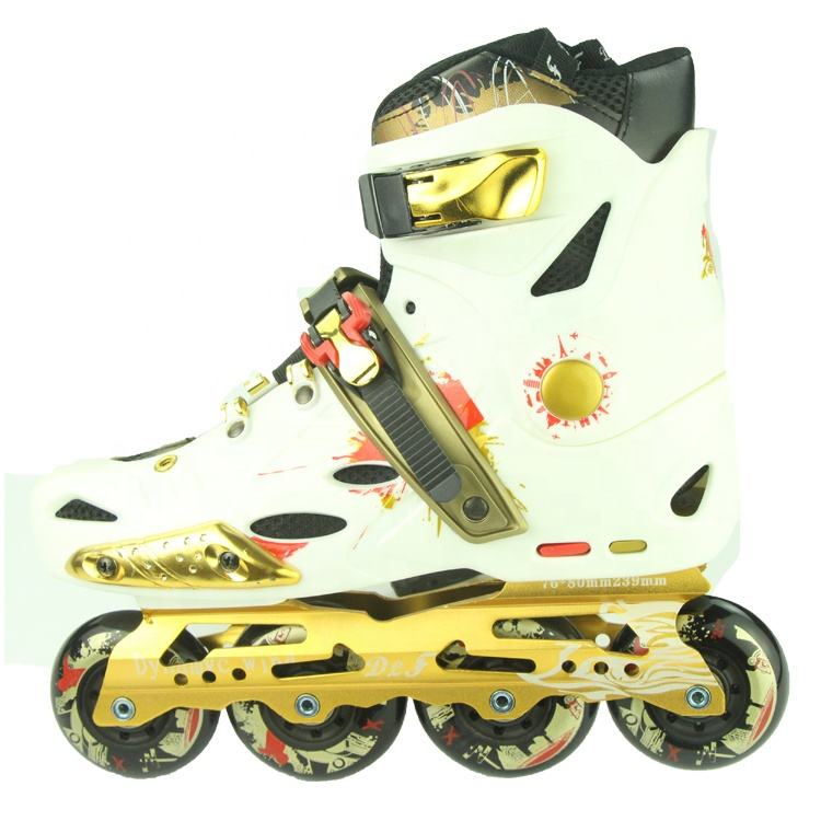 Factory Direct Selling Custom PU 4 Wheels Freestyle Inline Skate Buckle For Adults