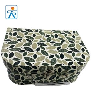 custom printing ctlmp Iron handle Green leaf packaging paper box suitcase