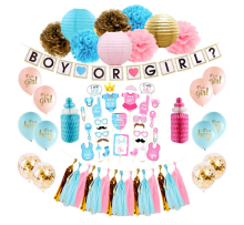 Gender Reveal Balloon Kit with Paper Puff, Lantern, Honey Comb Party Decorations