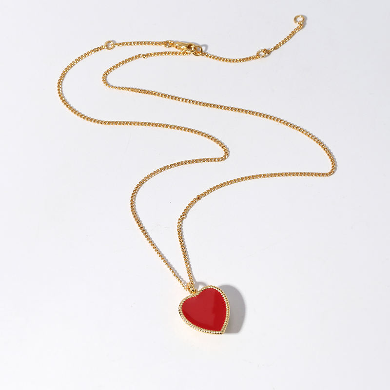 Heart shaped necklace with red enamel glaze Women Jewelry Fashion Gift