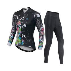 Printing absorb sweat bike wear windbreak bicycle long sleeve sweatshirt set women black clothing for cycling