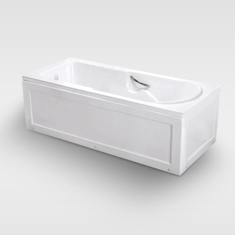 Cheap white acrylic two sided bathtub with panel