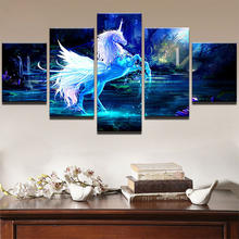 5 Pcs Oil Painting Horse Canvas Print Painting Home Decoration Bedroom Living Room Cool Wall Art Picture Gift Unframed