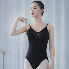 Factory direct sales of high-quality low-cost black silk stitching training dancewear adult girls ballet leotards