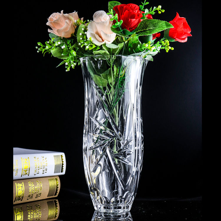 Modern home decor crystal vase transparent custom glass vase
