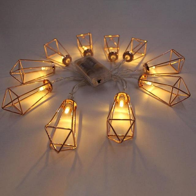 Bolylight 2*AA 10L Gold Metal Led String Lights Fairy Lights Decorative for Christmas/Wedding