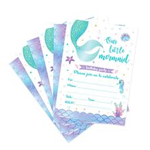 ZZ015 50pcs Mermaid party invitation card kids birthday party supplies favor paper card factory wholesale