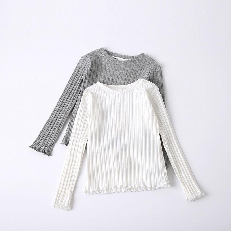most popular children teen girls plain blank kids t shirts high quality cotton round neck long sleeve shirts