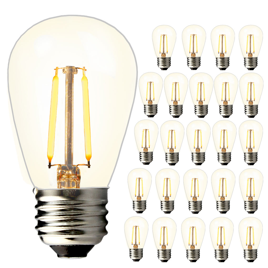 Ul ce rohs certificering 2W gelijk aan 20 watt gloeilamp equivalent E26 E27 6packs dimbare decoratieve led filament lamp