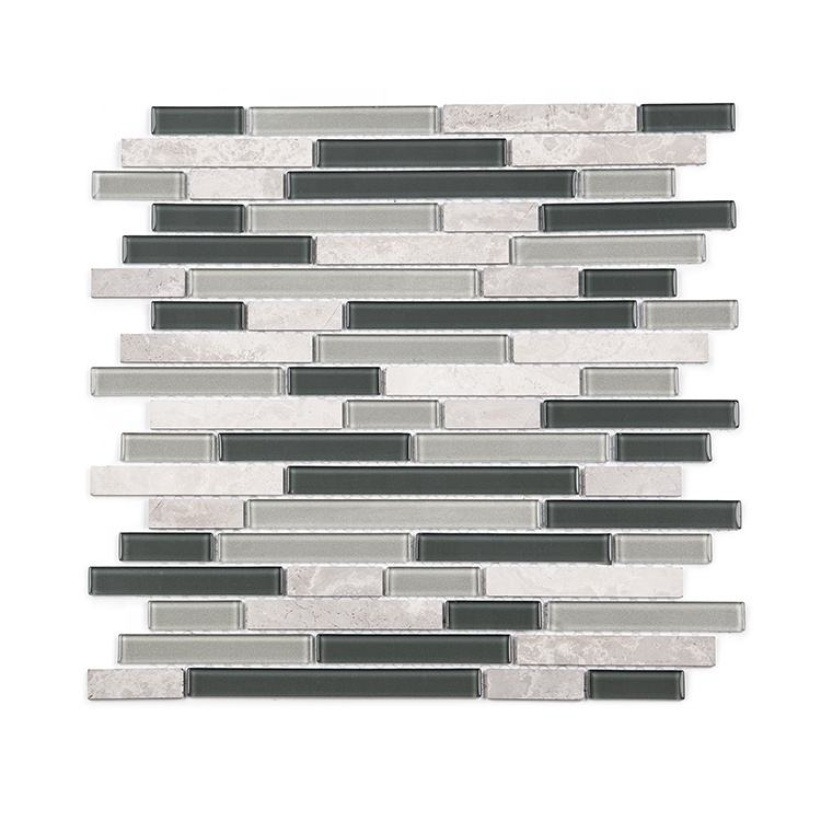 Moonight Trendy Hot Sale Glass Mixed Stone 3D Kitchen Tiles Backsplash for Wall