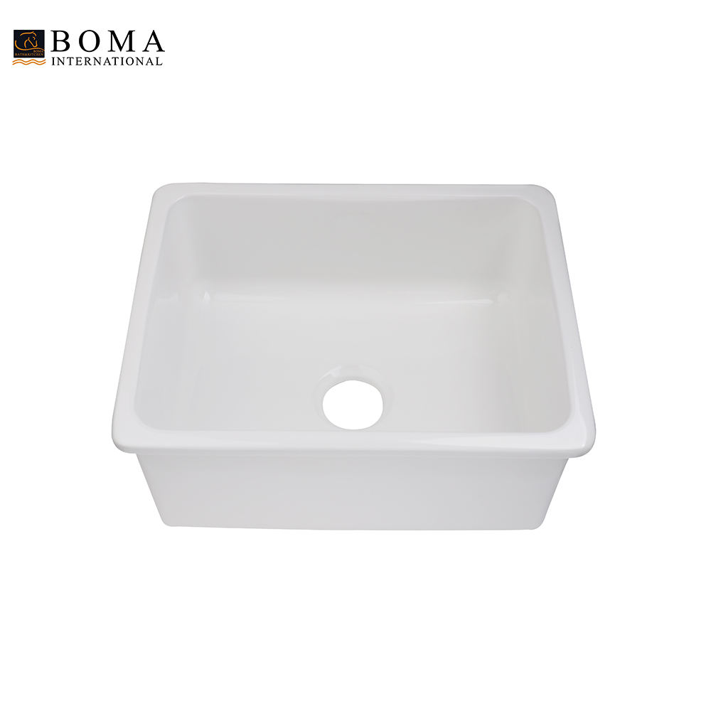 Ceramic Kitchen Single Farmhouse Undermount Porcelain Sink