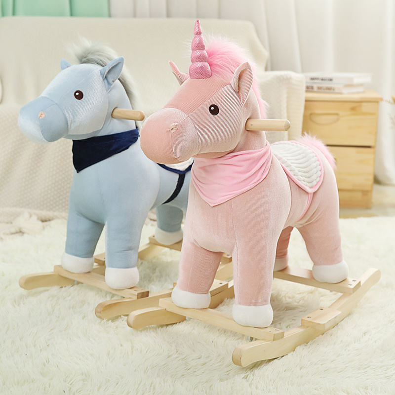 Wholesale Wood Plush Rocking Horse Toy For Kids Children