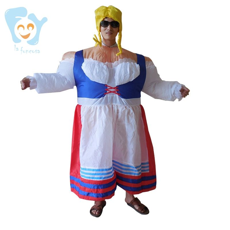 Unisex Halloween Party Cosplay Grappige Air Pak Opblaasbare Duitsland Nederlandse Beer Girl Kostuums