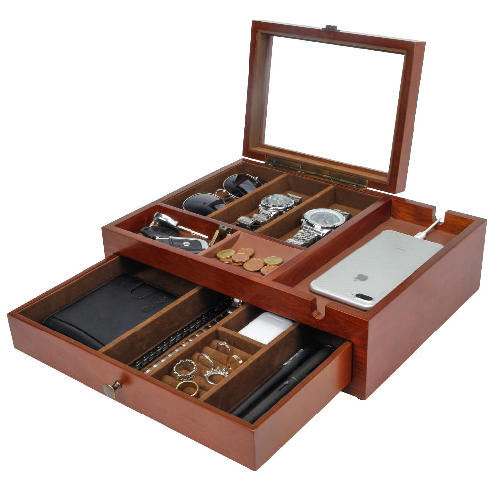 Begabeauty jewelry box classic business wood jewels case for man sandal wood